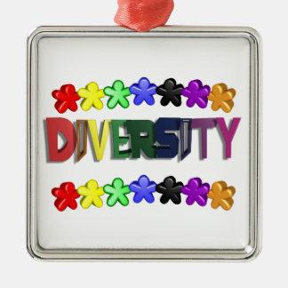 Diversity Lil People Square Metal Ornament