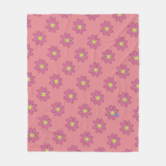 Diversity Pink Flowers Blue Detail on any Color Fleece Blanket