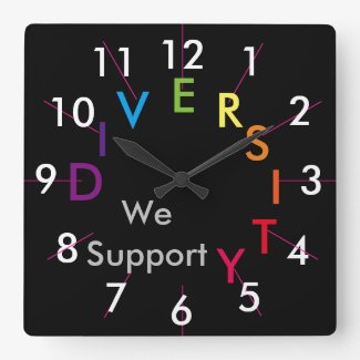 Diversity Pride Support Rainbow Gifts CricketDiane Square Wall Clock