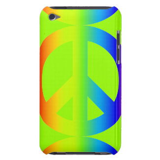 Diversity rainbow peace sign on bright green barely there iPod cover