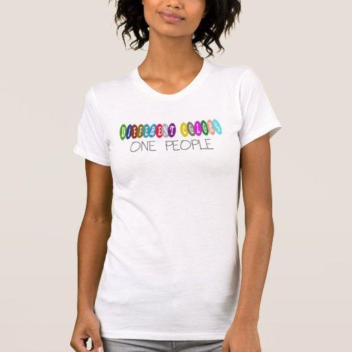 Diversos colores una personas camiseta