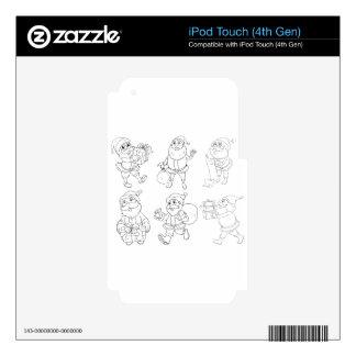 Diversos dibujos de Papá Noel que dan los regalos iPod Touch 4G Skin