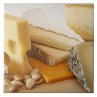 Diversos quesos en la tajadera azulejo cuadrado grande