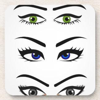 Diversos tipos de ojos para mujer apoyavasos