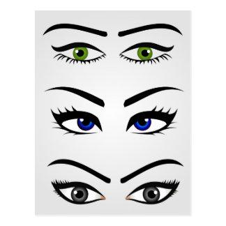 Diversos tipos de ojos para mujer tarjeta postal