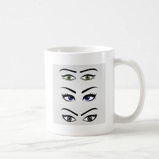 Diversos tipos de ojos para mujer taza