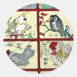 Diversos tipos de pájaros Ukiyoe Pegatinas Redondas