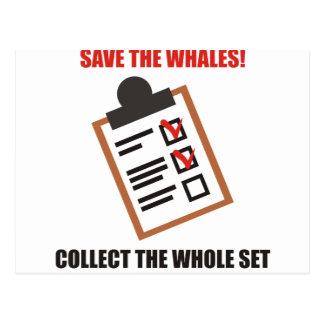 Divertido - ahorre las ballenas. Recoja el sistema Postales