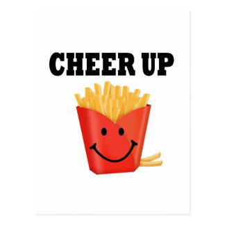 Divertido anime para arriba las patatas fritas postal