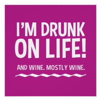 Divertido bebido en vida… y el poster del vino perfect poster