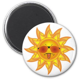Divertido, calor del verano, sol - actitud demasia imán redondo 5 cm