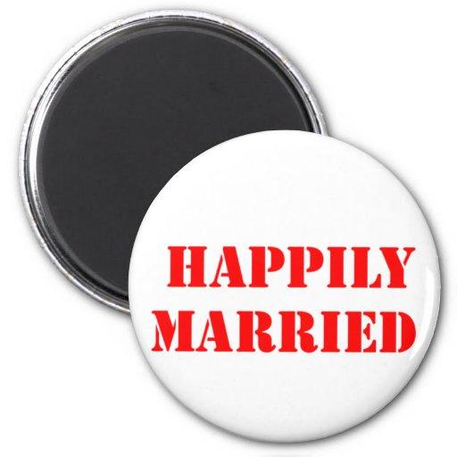 divertido casada imán de nevera