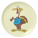 divertido coma el dibujo animado del pavo de la ca platos para fiestas