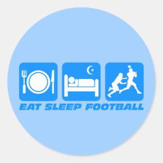 Divertido coma el fútbol del sueño etiqueta redonda