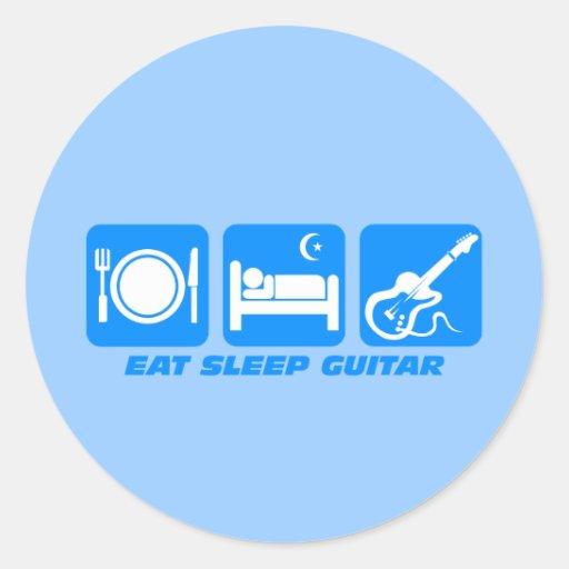 Divertido coma la guitarra del sueño etiquetas redondas