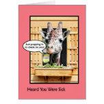 Divertido consiga pronto la jirafa bien a través d tarjeta de felicitación