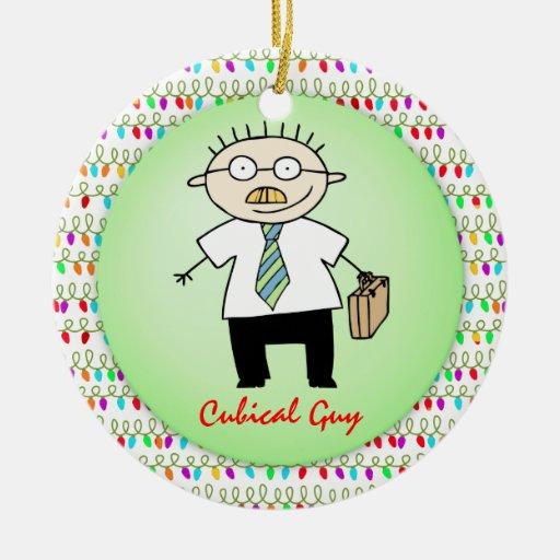 Divertido cúbico del individuo de la oficina del adorno navideño redondo de cerámica