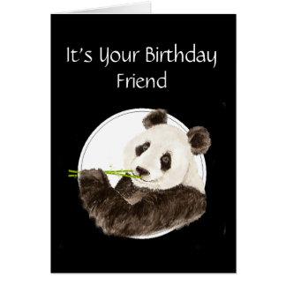 Divertido, cumpleaños del amigo, panda, oso tarjeta de felicitación