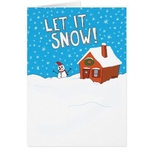 Divertido déjelo nevar tarjeta del día de fiesta