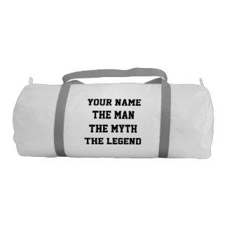 Divertido el hombre el mito el bolso del gimnasio bolsa de deporte