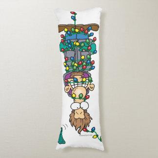 divertido enredado en luces de navidad almohada larga