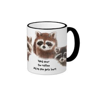 Divertido, entregue el café, taza linda del mapach