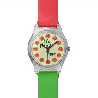 Divertido es tiempo de la pizza reloj de mano