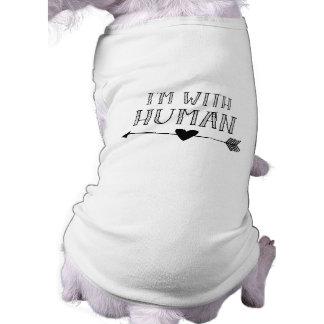 Divertido: Estoy con el ser humano Playera Sin Mangas Para Perro