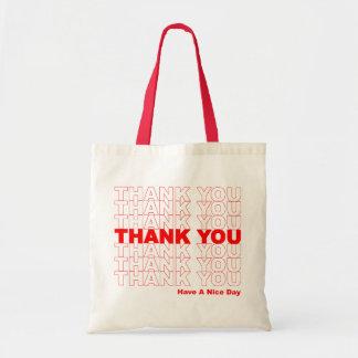 Divertido gracias diseñar bolsa tela barata