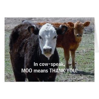 Divertido gracias - el humor animal de la vaca - r felicitacion