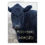 Divertido gracias vaca linda del ganado negro tarjeta de felicitación