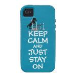 Divertido guarde la calma y apenas permanezca en iPhone 4 fundas