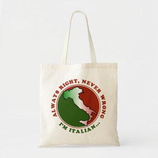 Divertido italiano obstinado bolsa tela barata