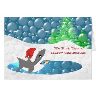Divertido - le pescamos las Felices Navidad Tarjeta De Felicitación