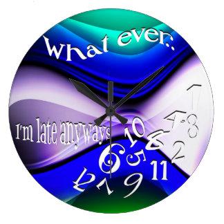 Divertido lo que soy último azul abstracto relojes