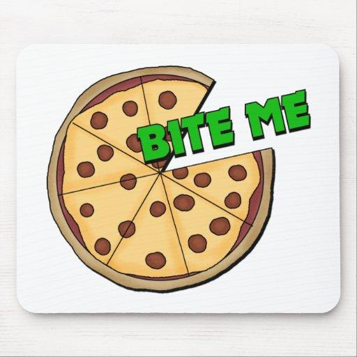 Divertido muérdame pizza alfombrilla de raton