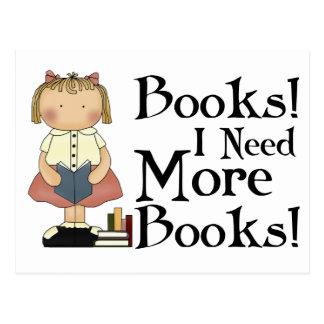 Divertido necesito más camiseta de los libros tarjetas postales