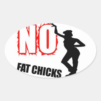 Divertido ningunos polluelos gordos pegatina ovalada
