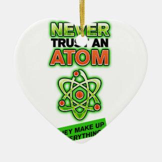 Divertido nunca confíe en un átomo ornamento de navidad