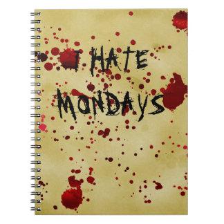 Divertido odio el cuaderno sangriento de la cubier