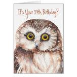 Divertido-Pequeño búho, 39.a tarjeta de cumpleaños