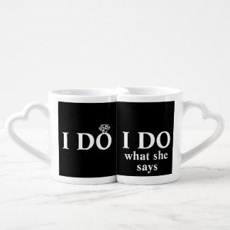 """Divertido personalizado """"hago"""" aniversario de boda set de tazas de café"""