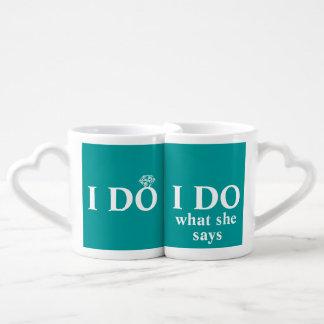 """Divertido personalizado """"hago"""" aniversario de boda taza amorosa"""