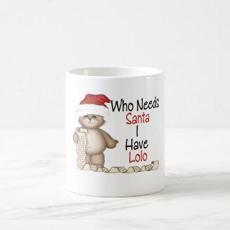 Divertido quién necesita a Santa Lolo Taza Clásica
