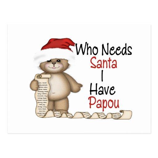 Divertido quién necesita a Santa Papou Postales
