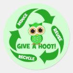 divertido reduzca la reutilización reciclan etiqueta redonda