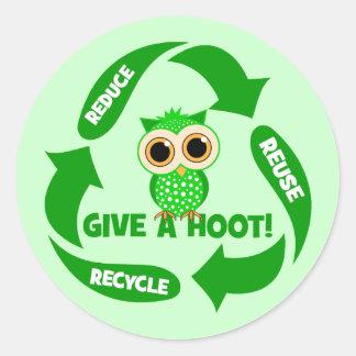divertido reduzca la reutilización reciclan pegatina redonda
