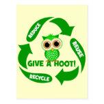 divertido reduzca la reutilización reciclan postal