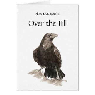 Divertido, sobre la colina, cumpleaños con el cuer tarjeta de felicitación