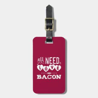 Divertido todo lo que usted necesita es amor y toc etiqueta de maleta